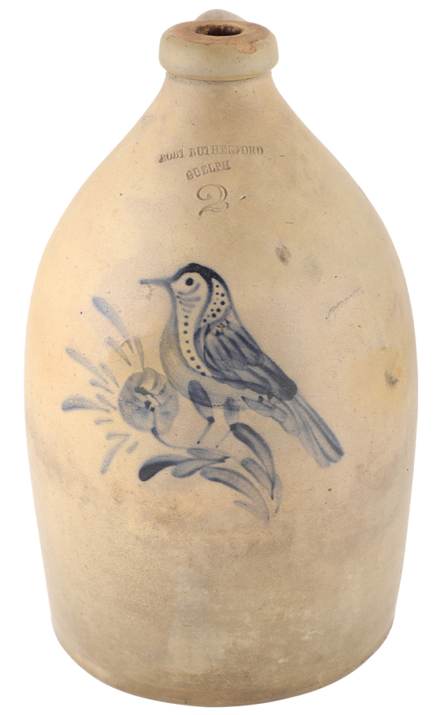 Two-gallon jug with bird decoration, which sold for CA$7,080