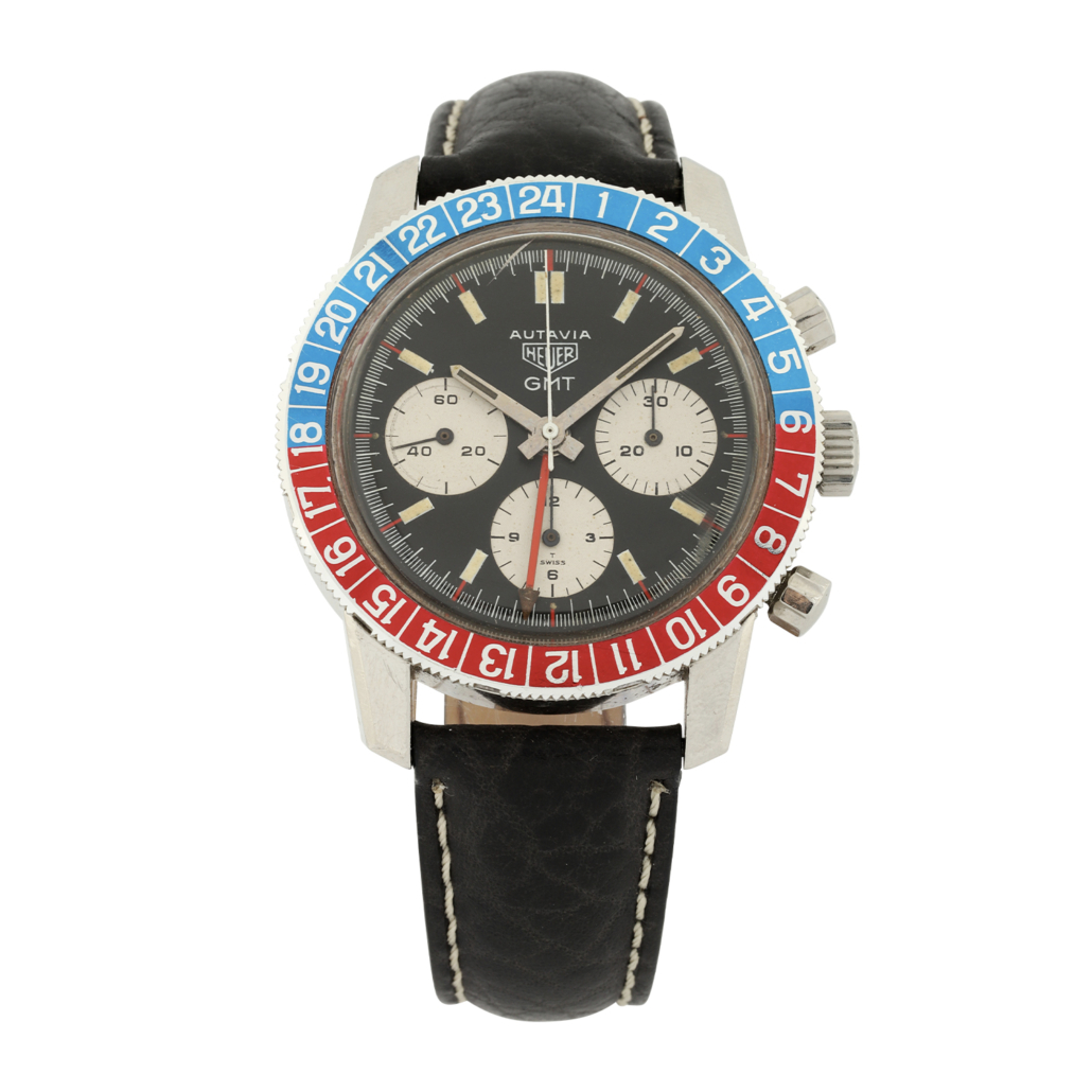 Tag Heuer Autavia GMT 2446C watch with a 'Pepsi' bezel, which sold for CA$17,700