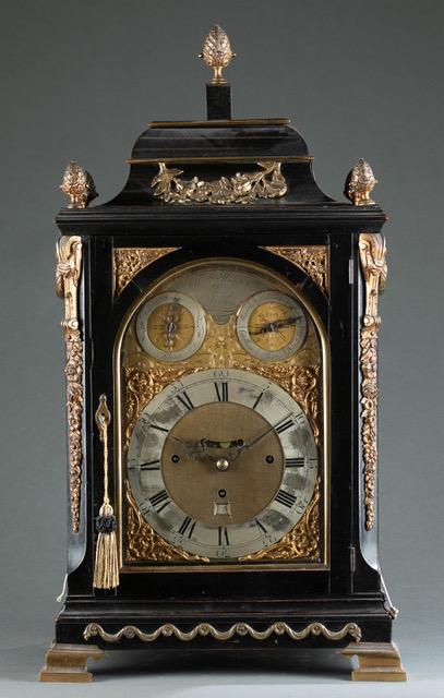 Circa-1760 George III Thomas Hunter bracket table clock in an ebonized wood case, estimated at $1,500-$2,500