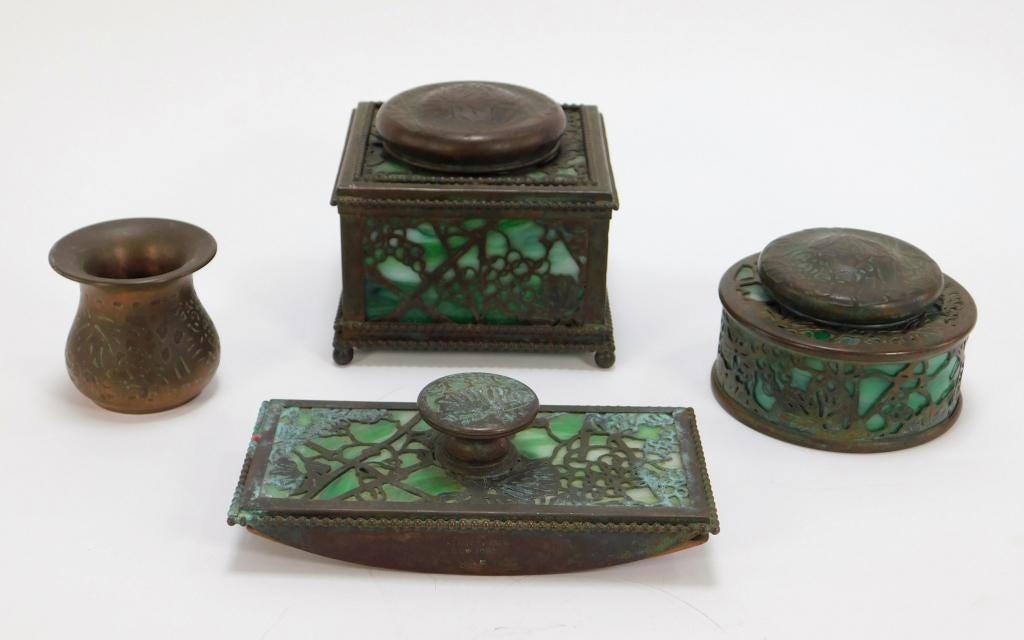 Four-piece Tiffany & Co. desk set, estimated at $800-$1,000