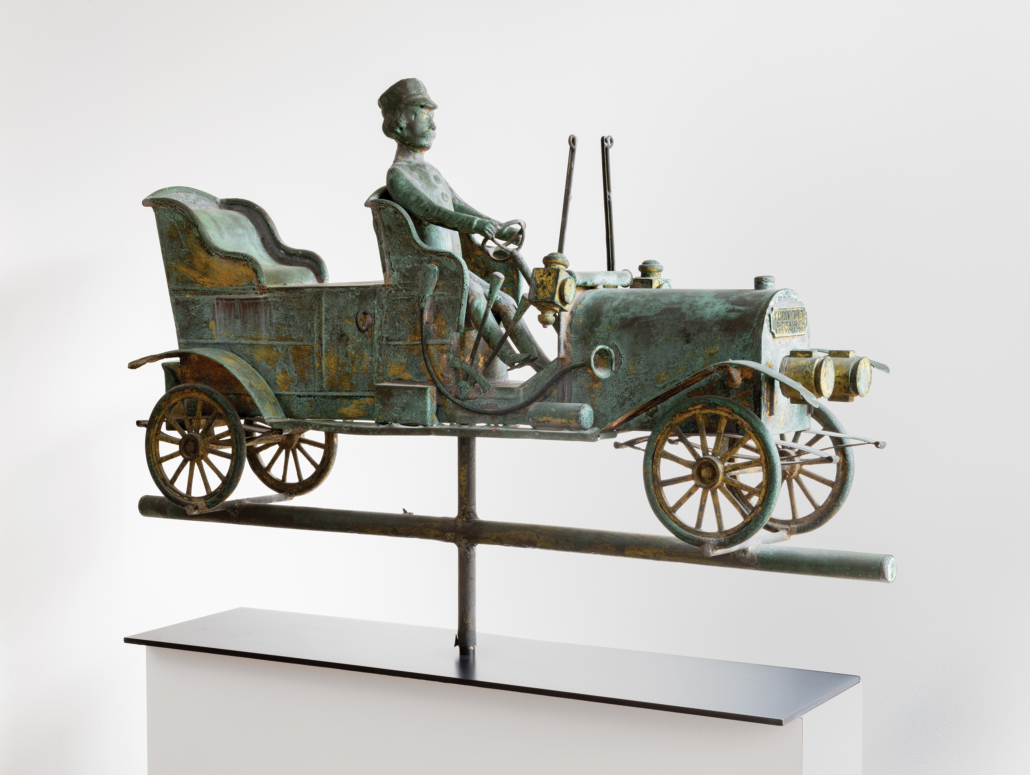 Touring car and driver weathervane, created circa 1910 by W.A. Snow Iron Works of Boston. Photograph by Adam Reich.
