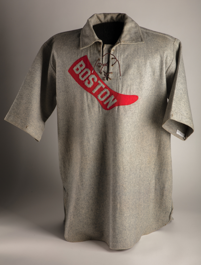 Wright & Ditson Boston Red Sox uniform shirt worn by Jesse Tannehill, 1908, wool flannel, National Baseball Hall of Fame and Museum, B-176-61. Courtesy of the National Baseball Hall of Fame and Museum/Milo Stewart Jr.