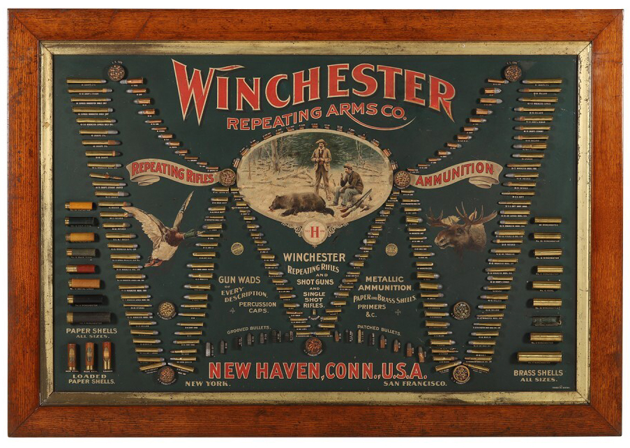 Winchester 1887 cartridge display board, which sold for CA$88,500