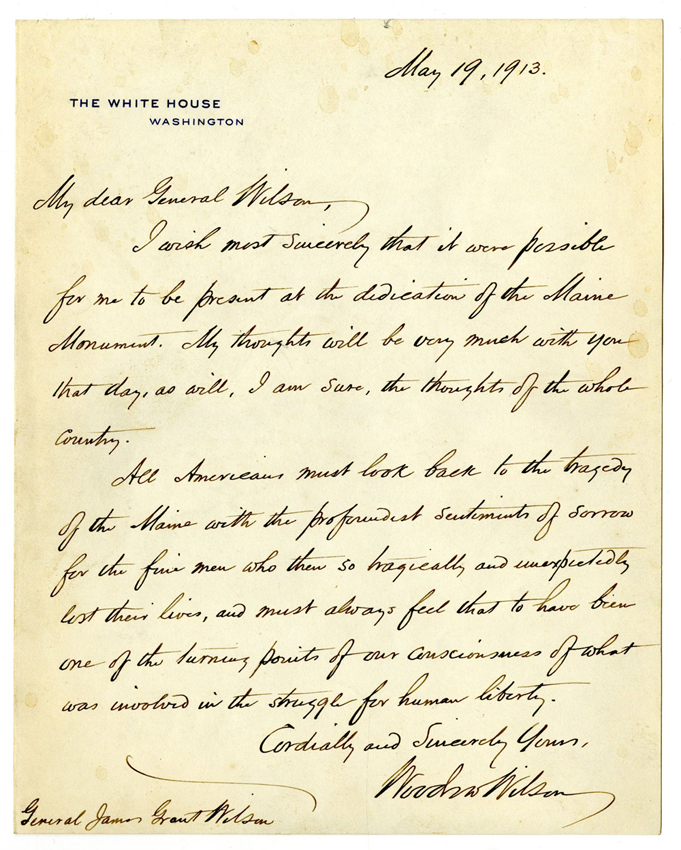 President Wilson letter from 1913 on White House stationery, which sold for $13,750