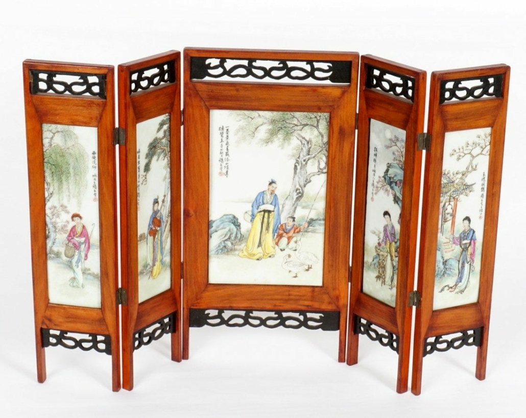 A Chinese porcelain plaque folding table screen realized $22,500 plus the buyer's premium in March 2021 at Amero Auctions.