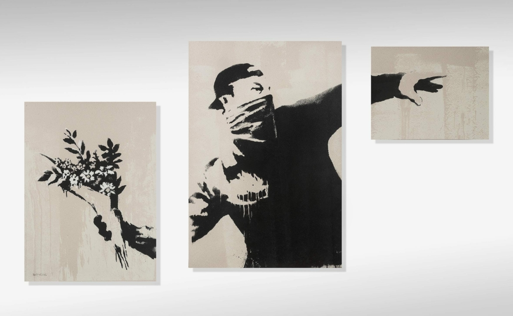 A triptych screenprint of 'Flower Thrower' (Grey) from 2019 realized $388,089 plus the buyer's premium in March 2021 at Tate Ward Auctions. Photo courtesy of Tate Ward Auctions and LiveAuctioneers.