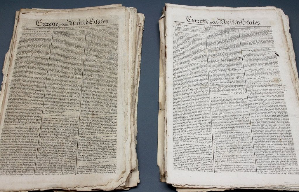 A group of issues of the Gazette Of The United-States sold at Quinn's for $110,000 plus the buyer's premium in December 2014.