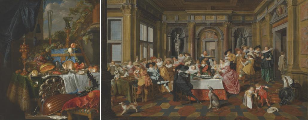 Left: Jan Davidsz. de Heem, 'A Banquet still life.' Right: Dirck Hals and Dirck van Delen, 'A Merry Company in a palatial interior.' Courtesy of Christie's Images LTD 2021
