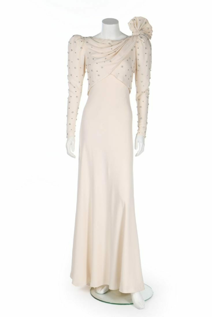 Princess Diana wore this Emanuel ivory silk moss gown for an official visit to Bahrain in 1986. It sold for $184,032 plus the buyer's premium in December 2018 at Kerry Taylor Auctions.