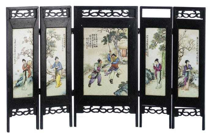A Chinese porcelain table folding screen sold for $62,664 plus the buyer's premium in November 2016 at Marques Dos Santos, Lda.