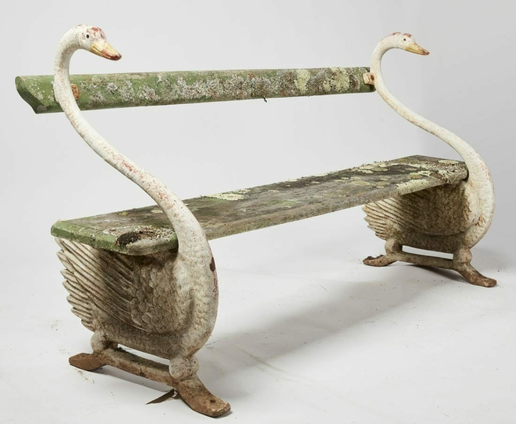 This well-weathered American garden bench with cast iron swan ends sold for $4,700 plus the buyer's premium in October 2020 at New Haven Auctions - Fred Giampietro.