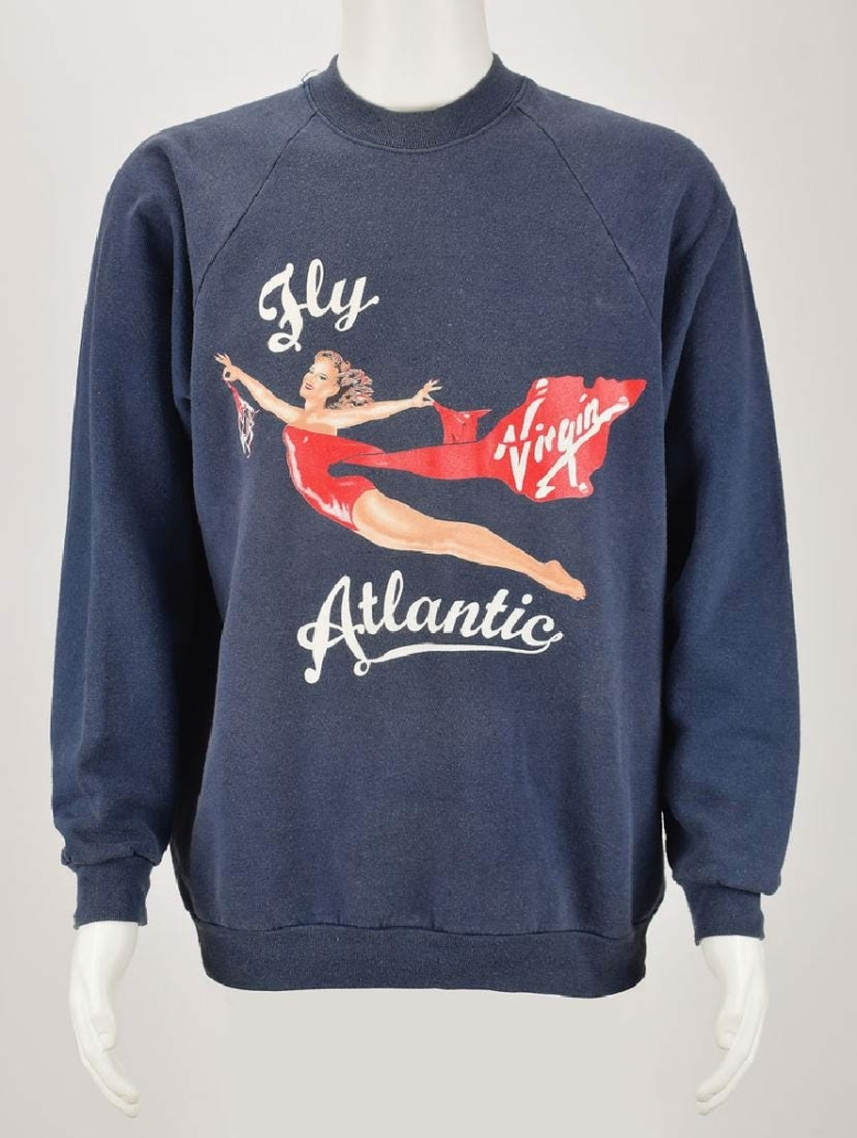 Princess Diana's personally owned- and -worn Virgin Atlantic sweatshirt, given to her by Richard Branson, sold at RR Auction for $42,826 plus the buyer's premium in July 2019.