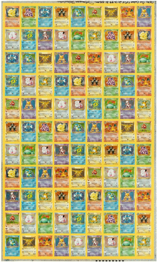A 1999 Pokemon shadowless holographic uncut proof sheet will be offered in June at Hake's Auctions.