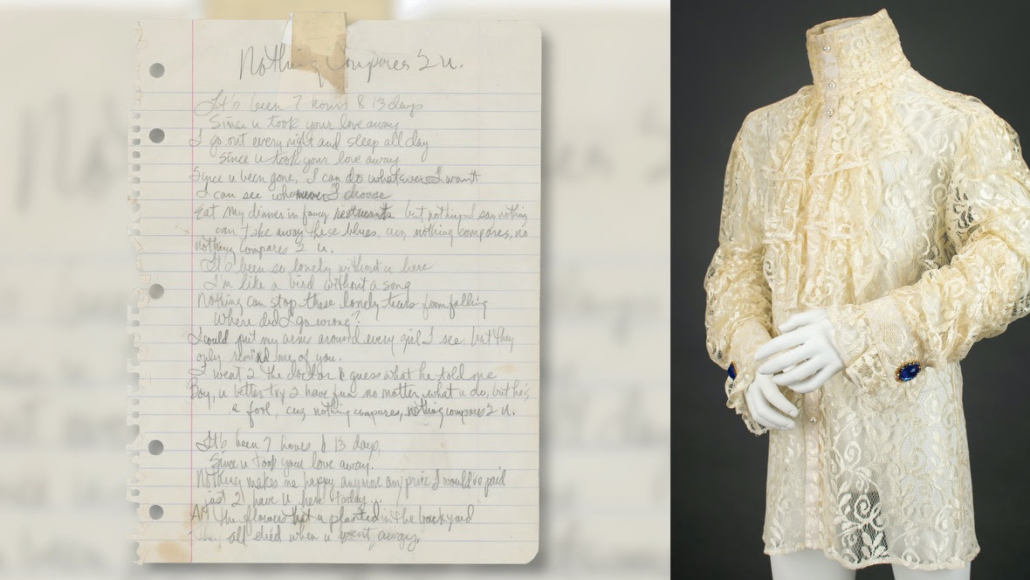 Left, handwritten Prince lyrics for 'Nothing Compares 2 U,' estimated at $75,000-$100,000; Right, Prince's stage-worn lace shirt from the mid-1980s 'Purple Rain' tour, estimated at $75,000-$100,000