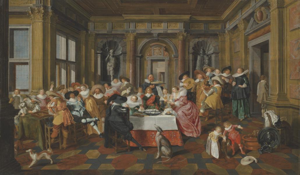Dirck Hals and Dirck van Delen, A Merry Company in a palatial interior, estimated at £700,000-£1 million. Courtesy of Christie's Images LTD 2021