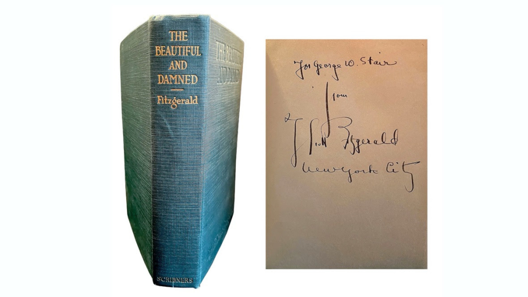 F. Scott Fitzgerald signed book, The Beautiful and Damned, estimated at $35,000-$40,000