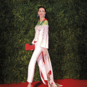 L'Wren Scott wearing a couture embroidered kimono tailcoat of her own design, from her Spring-Summer 2014 Tagasode collection. It carries an estimate of £2,000-£3,000. Image courtesy of Christie's Images Ltd 2021; © David Fisher/Shutterstock