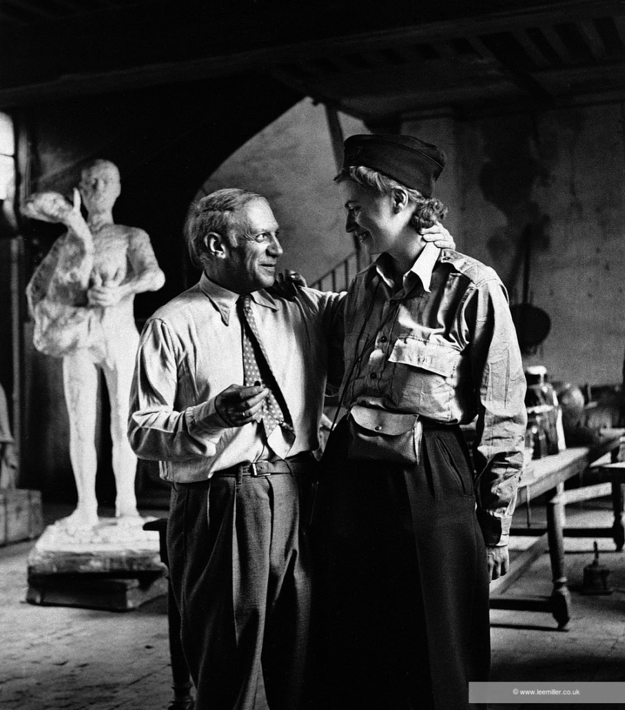 Picasso and Lee Miller in his studio, Liberation of Paris, Rue des Grands-Augustins, Paris, France 1944 by Lee Miller (NC0002 1) © Lee Miller Archives England 2020. All Rights Reserved. www.leemiller.co.uk