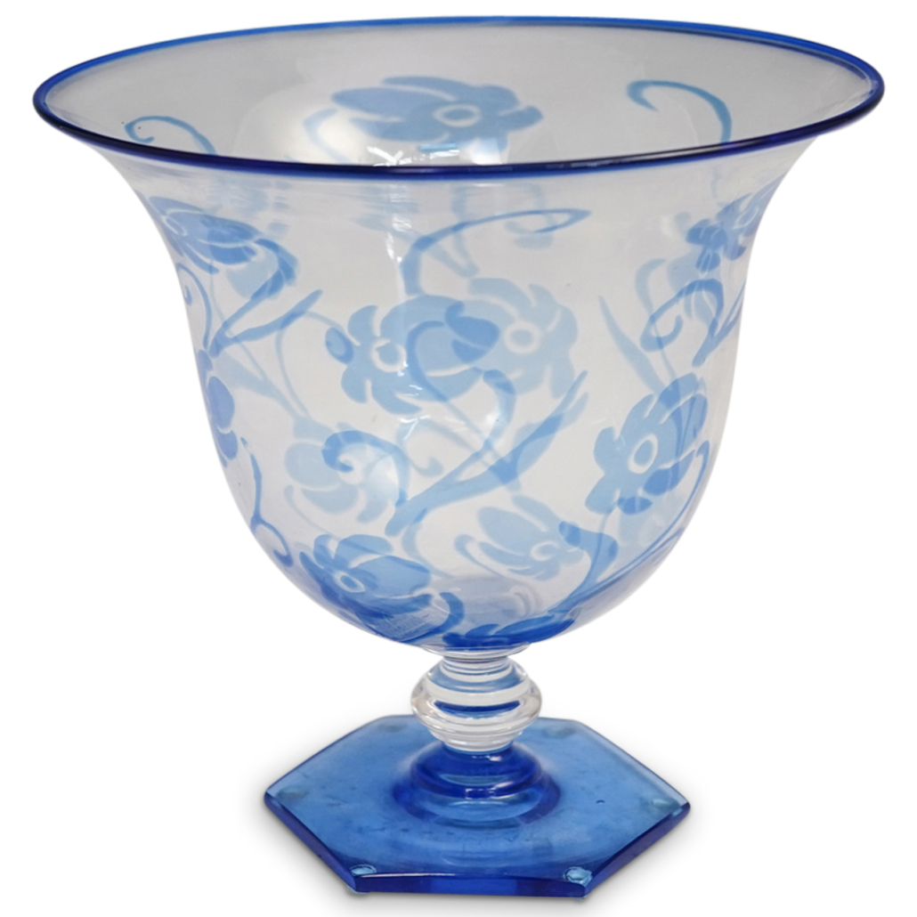 Frederick Carder Steuben blue Intarsia vase with blue foot, circa 1930, estimated at $2,000-$20,000
