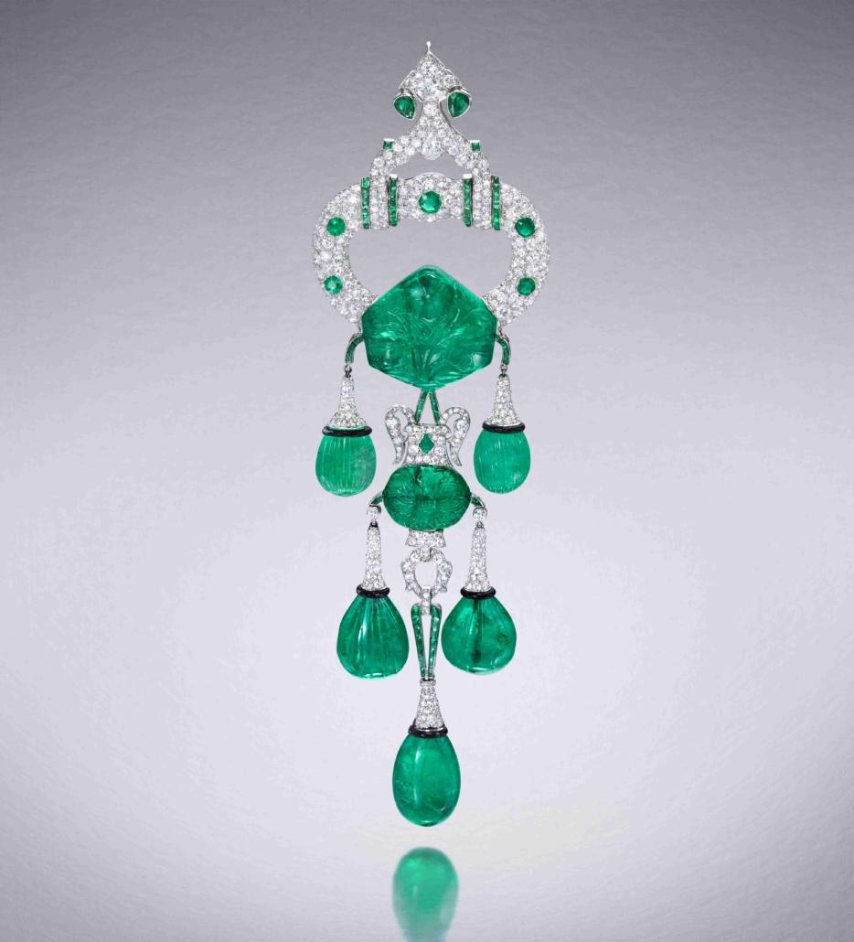 Cartier pendant brooch, New York, 1928, emeralds, diamonds, platinum, enamel. Courtesy of Hillwood Estate, Museum & Gardens. Photography: SquareMoose.