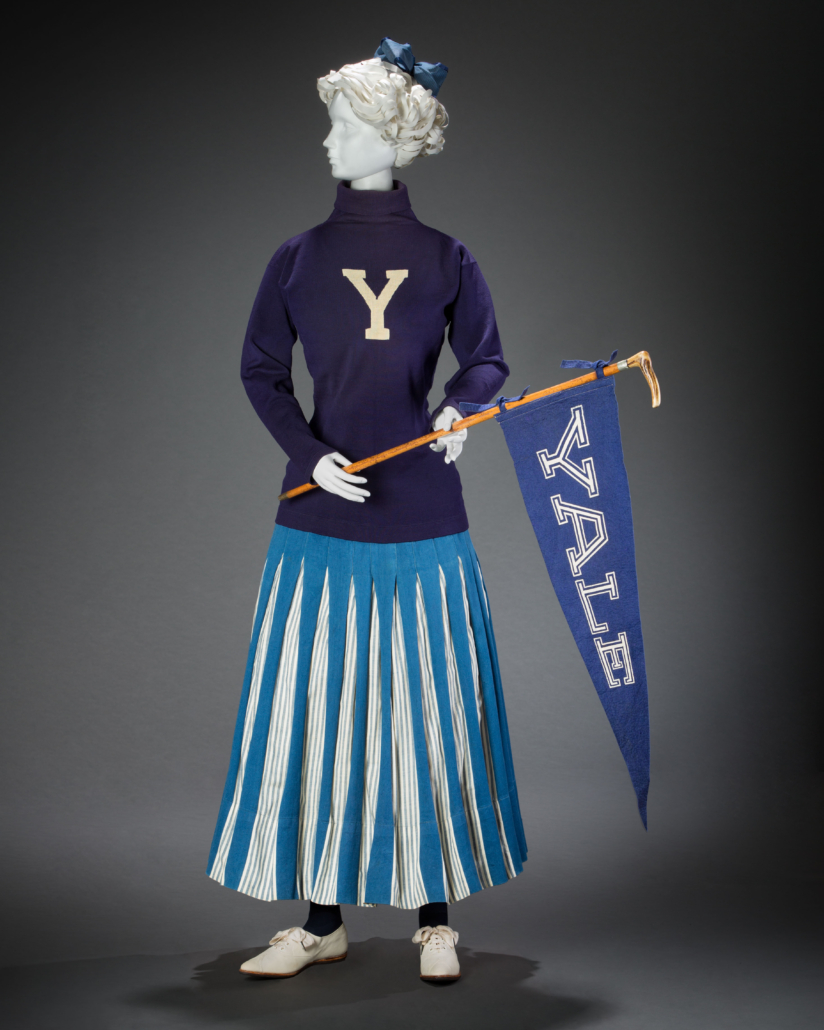 Cheerleading ensemble with Spalding sweater, 1900s. Photo: Brian Davis. © FIDM Museum. Courtesy American Federation of Arts
