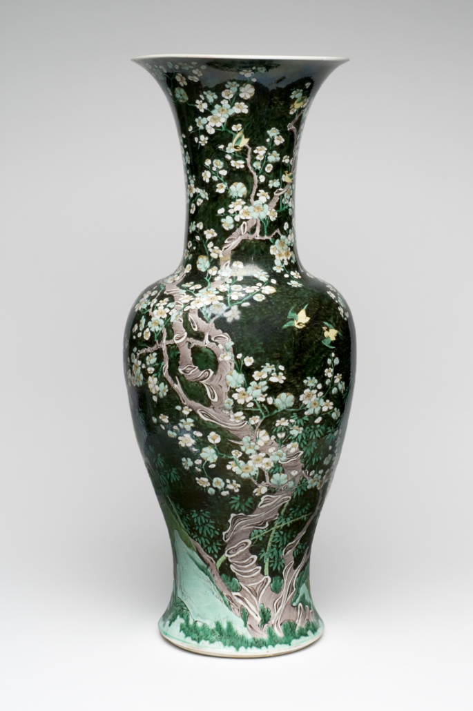 'Yen Yen Vase,' c. 1870s, Qing dynasty (1644-1911). Made in China, artist/maker unknown, Chinese. Porcelain, overglaze enamel decoration (Famille noire), 27 7/8 by 11 inches. The Alfred and Margaret Caspary Memorial Gift, 1955. Image courtesy Philadelphia Museum of Art, 2021.