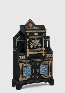 Kimbel and Cabus (New York, 1863–82). Cabinet-Secretary, circa 1875. Painted cherry, gilding, copper, brass, leather, earthenware, 60 × 35 × 14 in. (152.4 × 88.9 × 35.6 cm). Brooklyn Museum; Bequest of DeLancey Thorn Grant in memory of her mother, Louise Floyd-Jones Thorn, by exchange, 1991.126. (Photo: Gavin Ashworth)