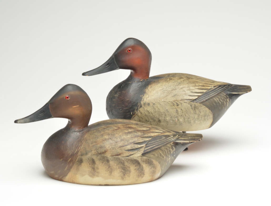 Pair of canvasback duck decoys by Elmer Crowell, estimated at $40,000-$50,000