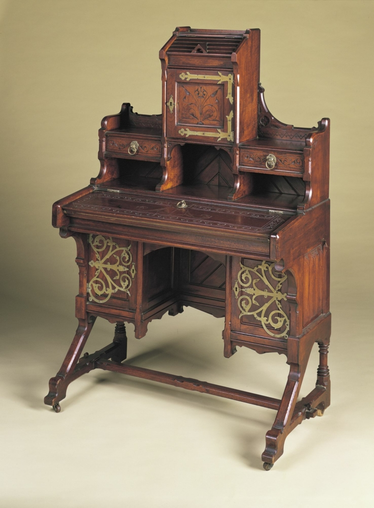Kimbel and Cabus (New York, 1863–82). Desk, circa 1875. Walnut, metal, 57 × 36 1/2 × 30 in. (144.8 × 92.7 × 76.2 cm). The Mint Museum, Charlotte, NC; Exchange funds from the Gift of Harry and Mary Dalton, 2000.116.1-2