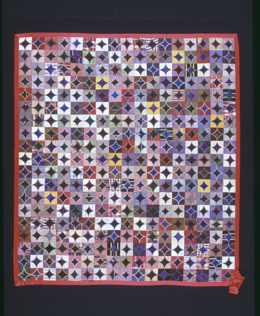Show quilt, attributed to Jane Ault, probably Pennsylvania or Ohio, ca. 1900, silks with silk embroidery thread, Gift of Mrs. Jane Steel, 2003.609.5