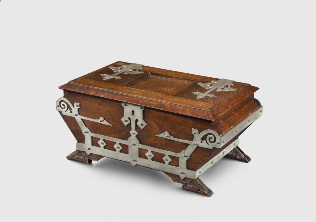 Kimbel and Cabus (New York, 1863–82). Humidor, circa 1875. American black walnut, brass-plated nickel, 8 1/8 × 18 × 10 1/4 in. (20.6 × 45.7 × 26 cm). Brooklyn Museum; Purchase gift of Deedee and Barrie Wigmore, 2017.7. (Photo: Gavin Ashworth)