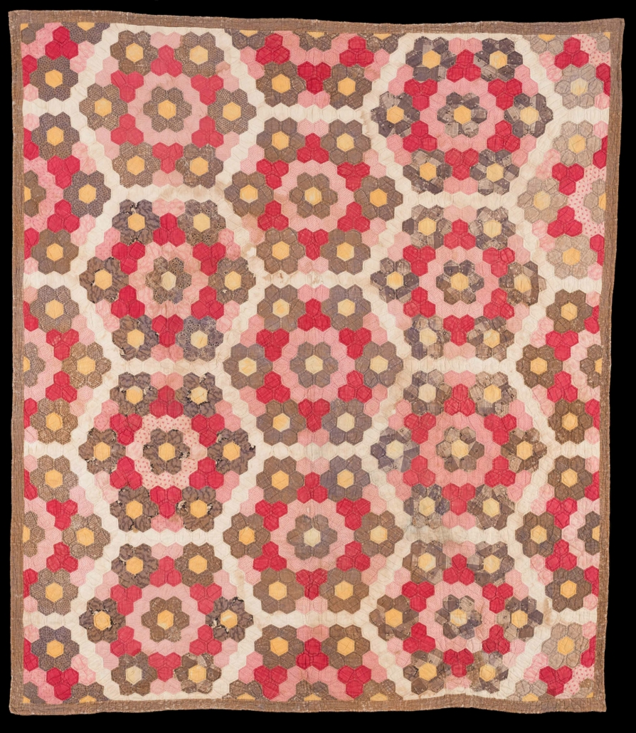 Pieced Honeycomb quilt, Sarah Winifred Cobb (1842-1917) and Rachel, Richmond, Kentucky, ca. 1850, Plain and printed cottons, Gift of Katherine Phelps Burnam Flood, 2019.609.2