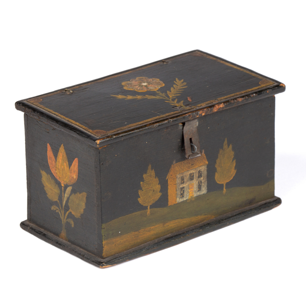 Pennsylvania paint-decorated Weber trinket box, which sold for $43,875