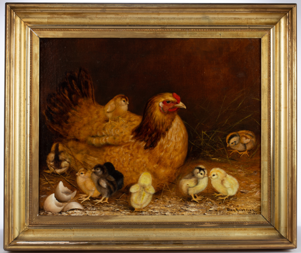 Ben Austrian farmyard scene with hen and chicks, which sold for $28,080