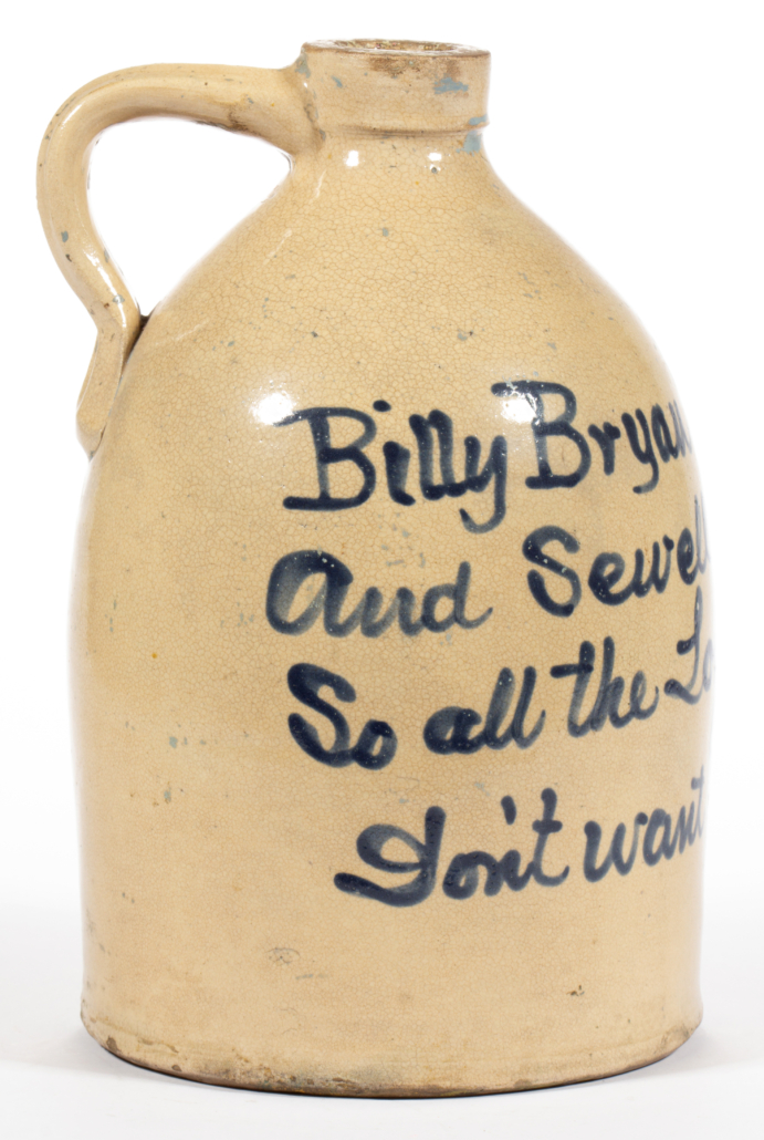 Fulper Brothers political stoneware jug, which sold for $21,060