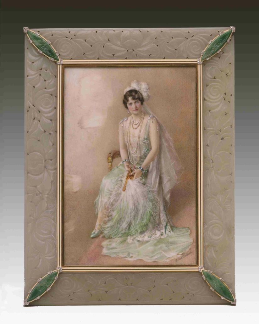 Cartier frame with miniature of Marjorie Merriweather Post, New York, 1928, jade, gold, enamel, diamonds. Courtesy of Hillwood Estate, Museum & Gardens. Photographed by Brian Searby