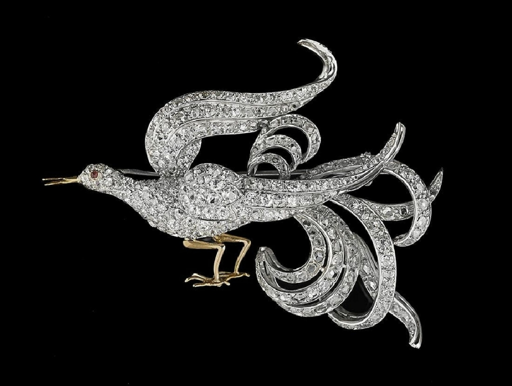 An Edwardian bird of paradise brooch in platinum and 18K yellow gold, set with rose-, Swiss- and single-cut diamonds realized $3,600 plus the buyer's premium in 2017.
