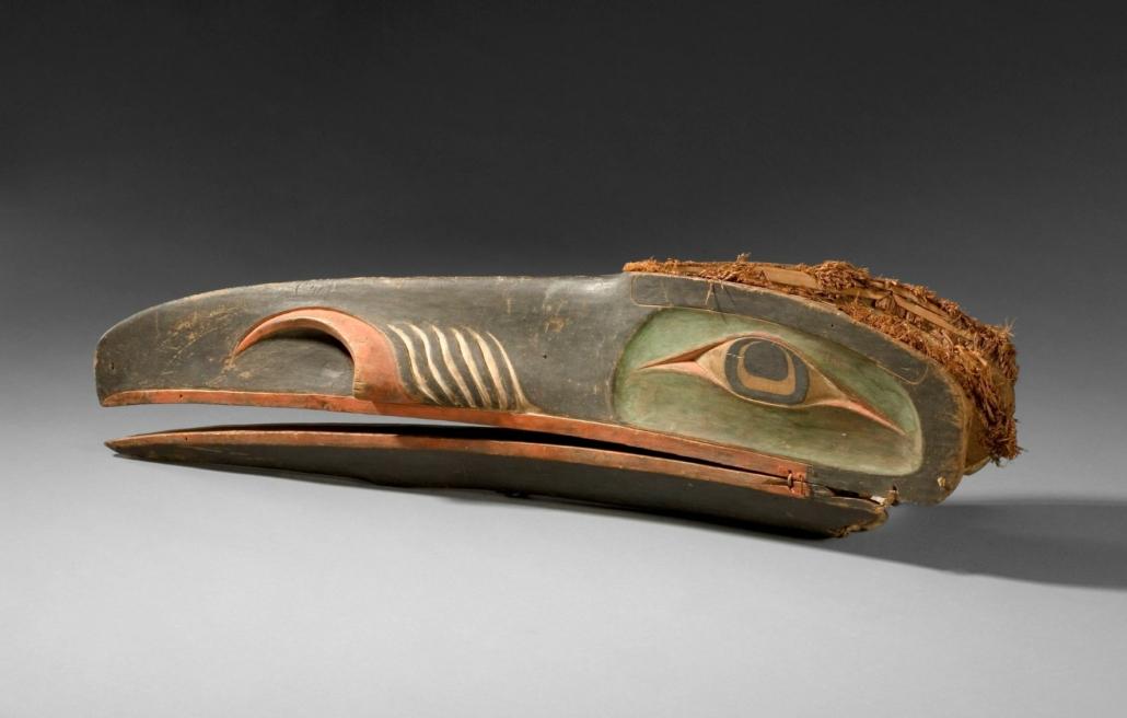 Raven Mask, North American Indian, Kwakwaka'wakw (Kwakiutl), British Columbia, Canada, ca. 1870. Wood, pigment, metal, and cedar bark. The Nelson-Atkins Museum of Art, Purchase: William Rockhill Nelson Trust.