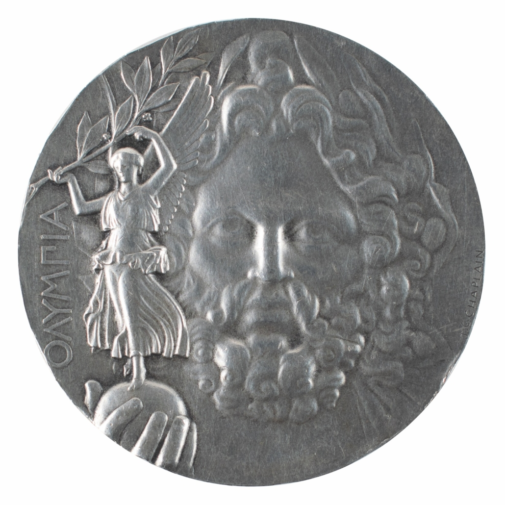 Athens 1896 Olympic silver 'First Place' winner's medal, estimated at $75,000-$100,000