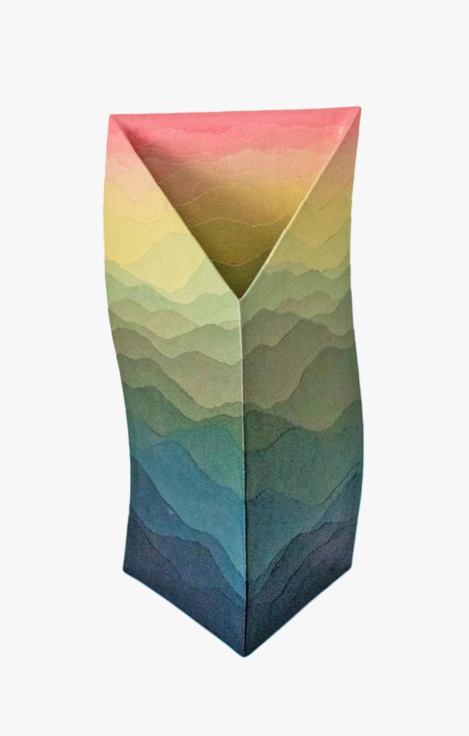 Myashita Zenji, 'Triangular,' 2003 stoneware and colored clay, 17¾ x 9 x 6⅞ inches. Victoria Schonfeld Collection