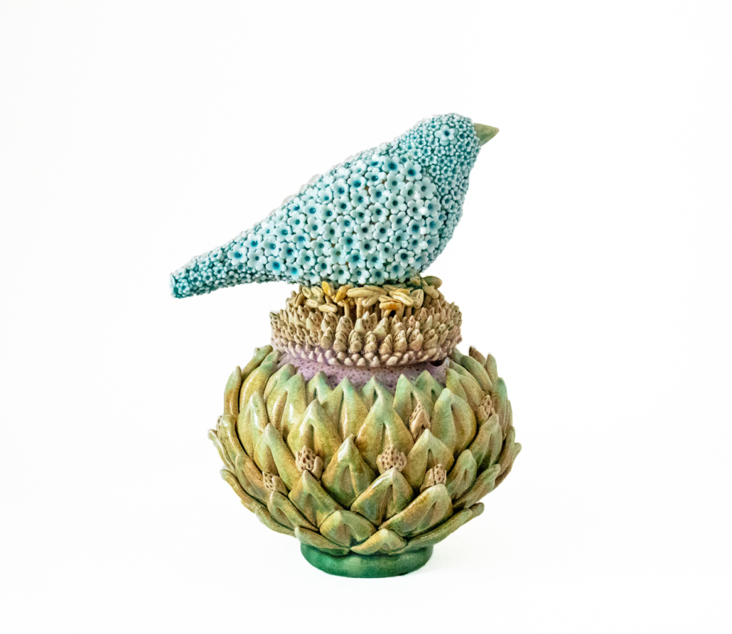 Kate Malone, 'Small Lidded Flower Jar and Waddesdon Bird,' 2016 crystalline-glazed stoneware and porcelain, 9⅞ x 7½ x 6¾ inches. Victoria Schonfeld Collection