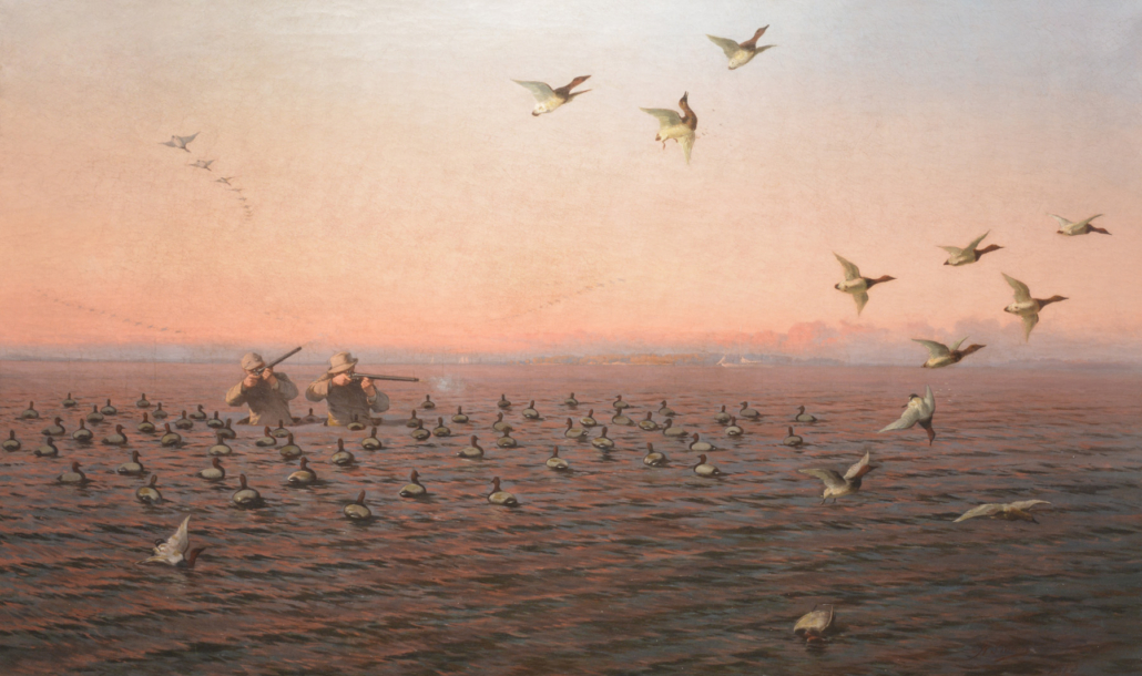 1883 Herman Simon oil on canvas of waterfowling on the Chesapeake Bay, estimated at $75.000-$95,000