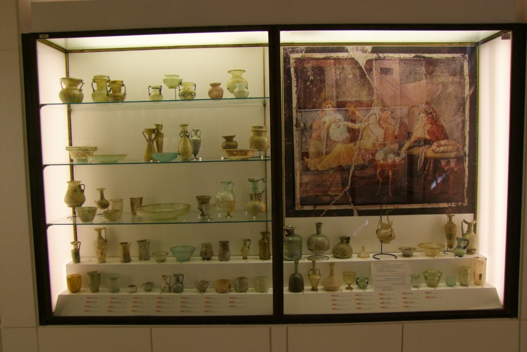 The case of glass vessels displayed at the Archaeological Museum (AUB) before the explosion. Courtesy of the AUB Office of Communications and Archaeological Museum