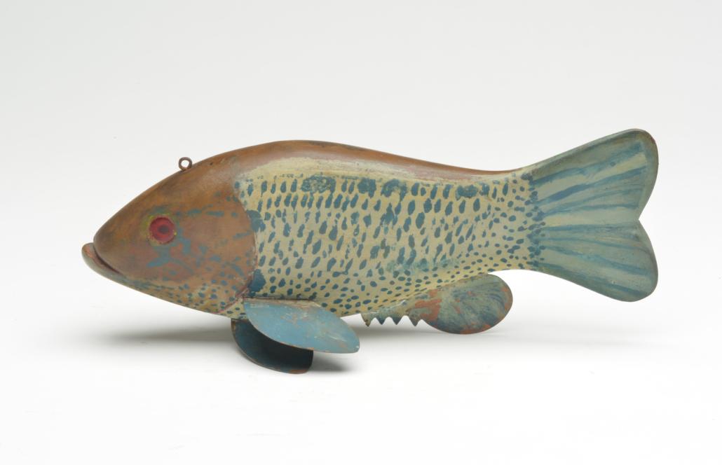 Hans Janner rock bass fish decoy, estimated at $25,000-$35,000