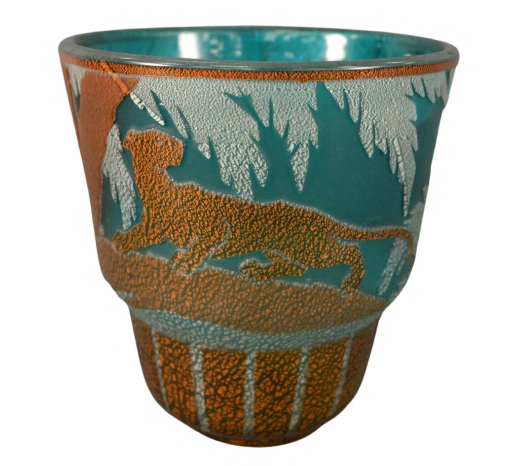 Muller Freres Luneville blue and yellow mica decorated vase, which sold for $6,875 on June 12