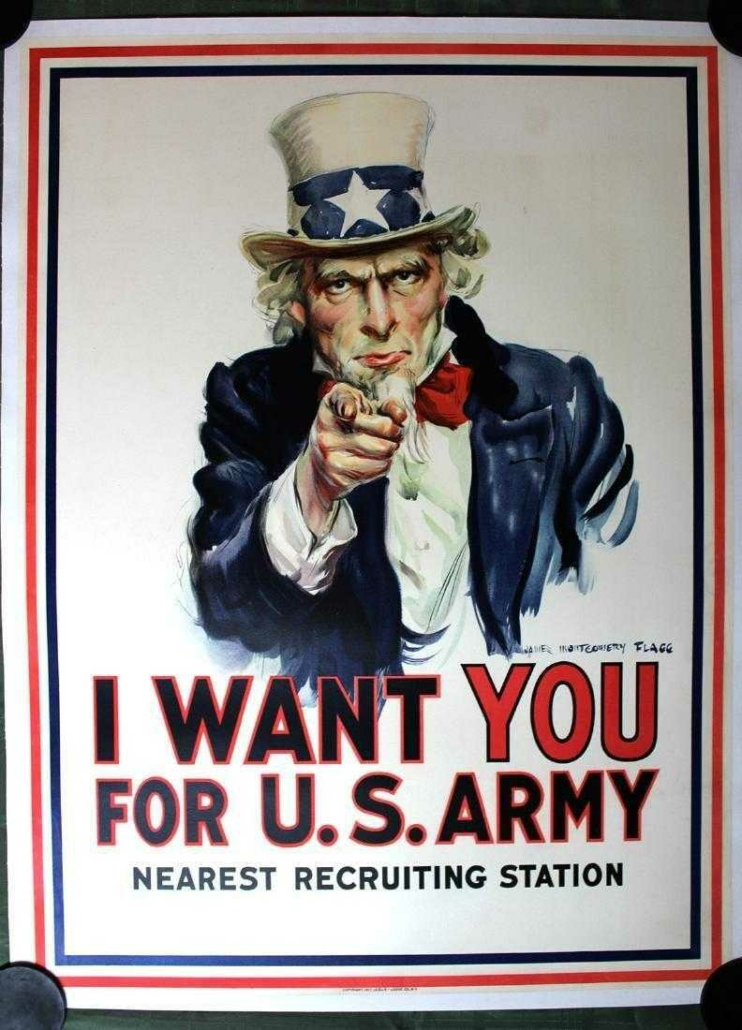 Genuine 1917 'I Want You' posters sell well. This example realized $10,000 plus the buyer's premium at Jasper52 in December 2018.