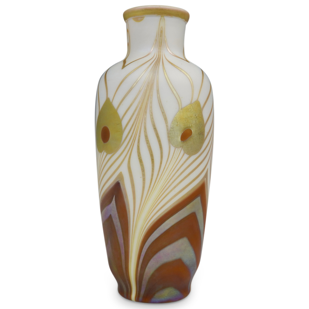 Steuben decorated brown vase on Calcite with gold Aurene leaf, pulled peacock feather decoration and gold lining, estimated at $5,000-$25,000