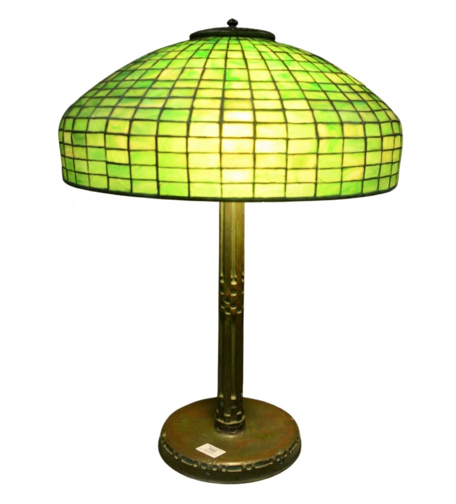 Tiffany Studios leaded green glass table lamp, which sold for $12,000 on June 12