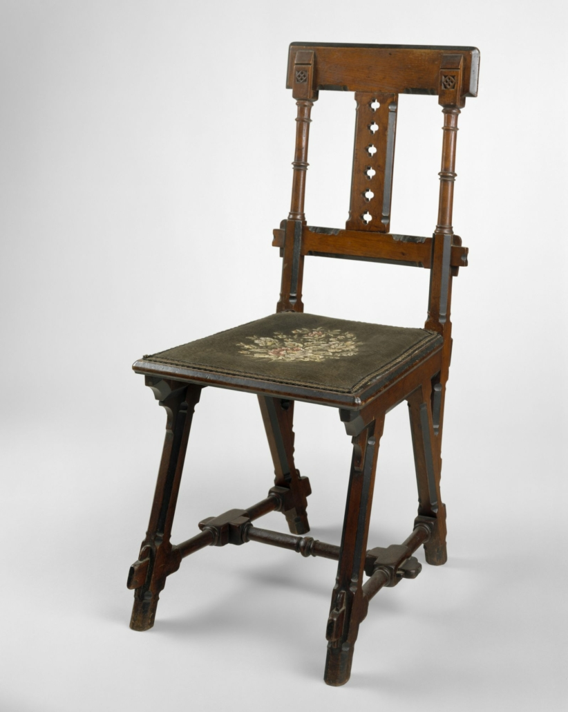 Kimbel and Cabus (New York, 1862–82). Side Chair, circa 1875. Walnut, needle-pointed textile, 36 3/8 × 16 5/8 × 21 1/2 in. (92.4 × 42.2 × 54.6 cm). Metropolitan Museum of Art, New York; Gift of Marco Polo Stufano, in honor of Deedee and Barrie A. Wigmore, 2001, 2001.67. © The Metropolitan Museum of Art. (Photo: Art Resource, NY)