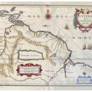 Circa 1635 map of the Amazon region, showing the fictional Lake Parime and El Dorado, estimated at $400-$500